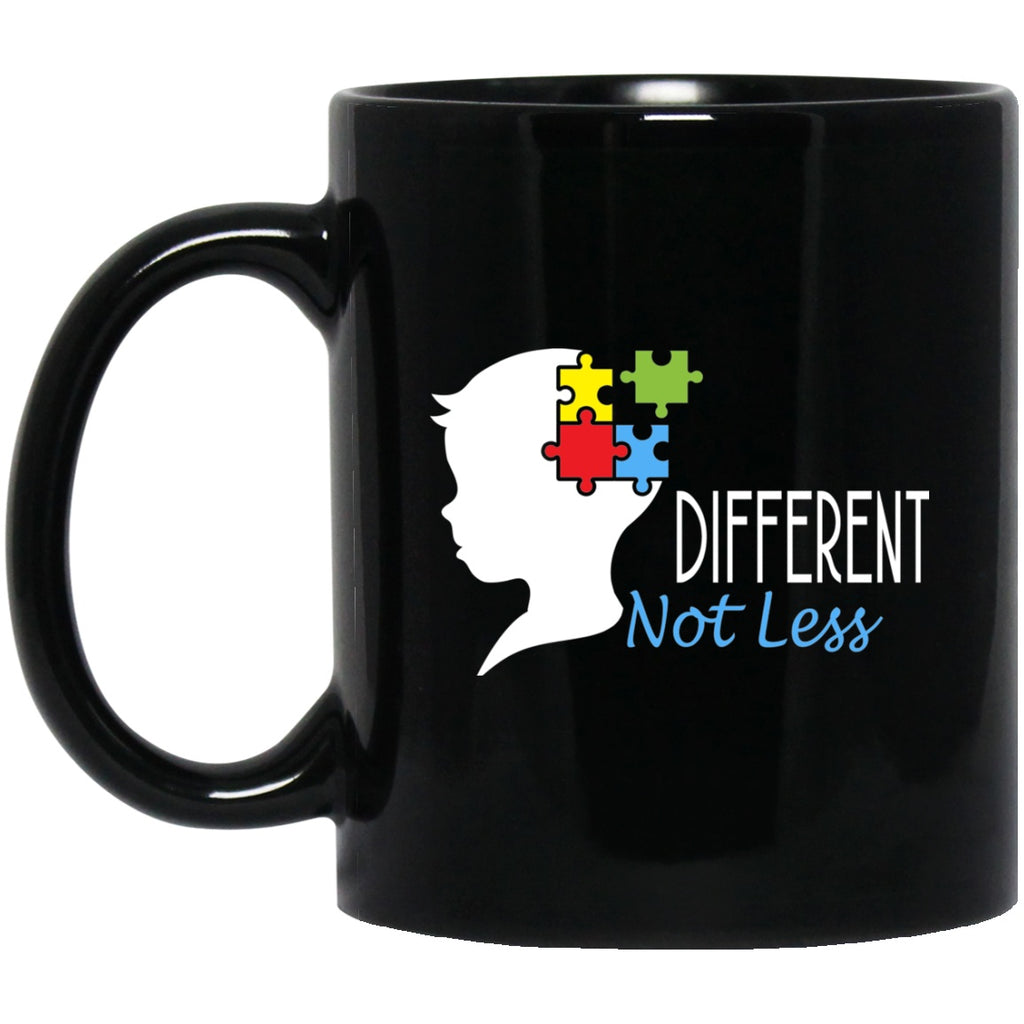 Autism Awareness Mug Different Not Less Black Coffee Mugs - GoneBold.gift