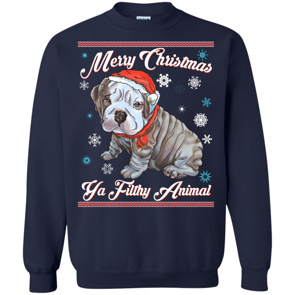 Christmas Sweater English Bulldog Puppy Hoodies sweaters - GoneBold.gift
