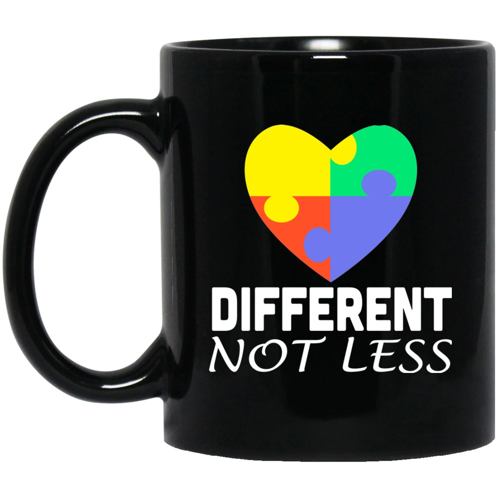 Autism Awareness Mug Different Not Less Heart jigsaw puzzle pieces Black Coffee Mugs - GoneBold.gift