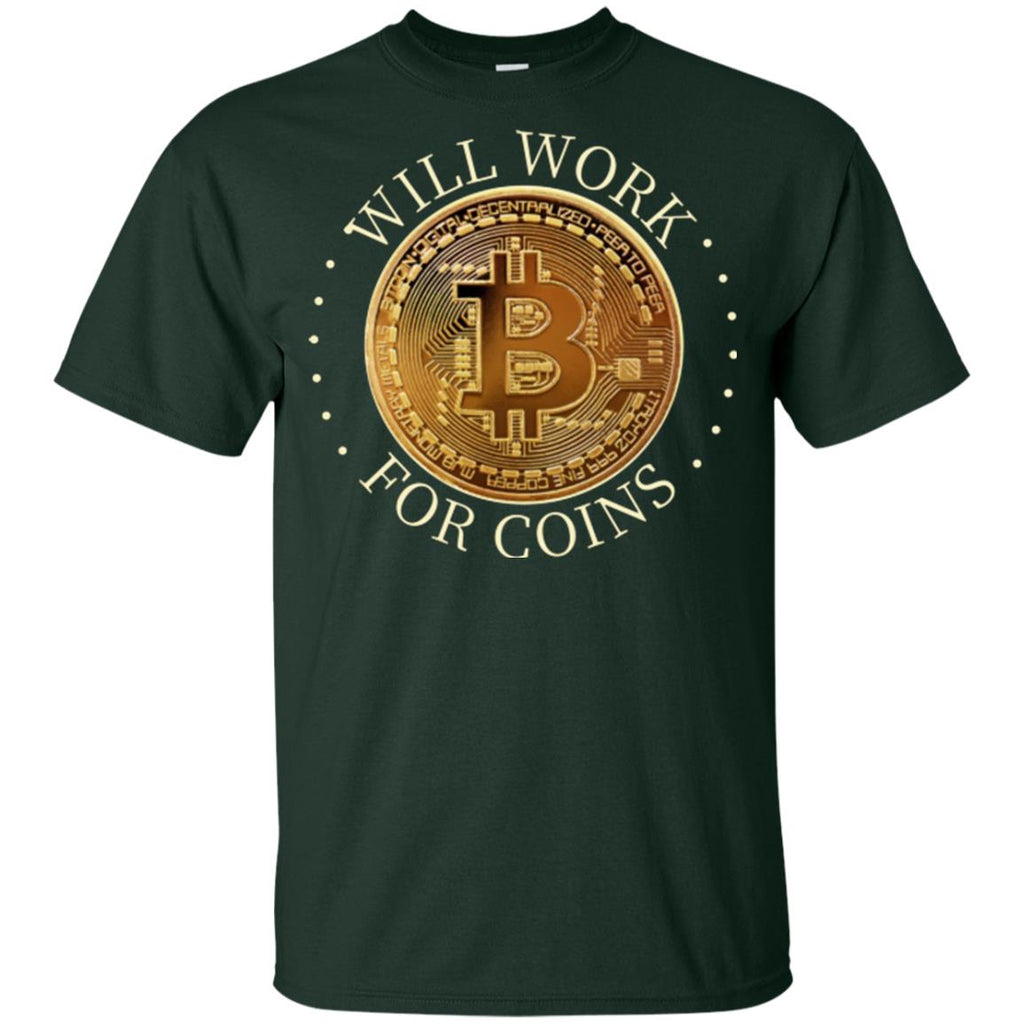 Will Work For Coins Gildan Youth Ultra Cotton Bitcoin T-Shirt - GoneBold.gift