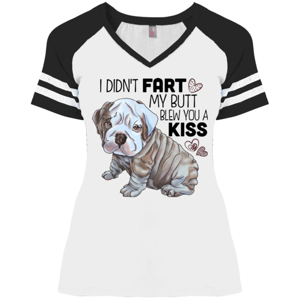 Funny English Bulldog Ladies' Game V-Neck T-Shirt - GoneBold.gift