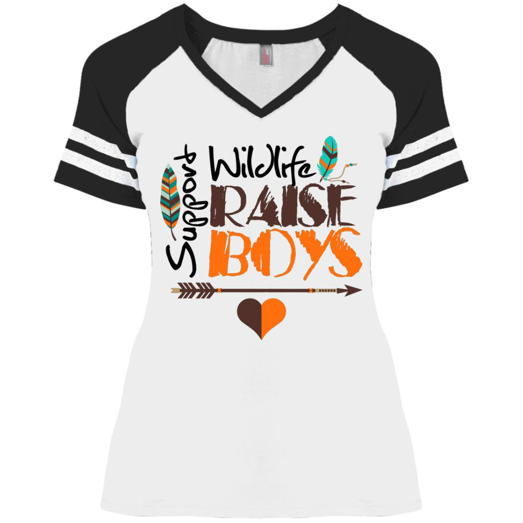Mom Game V-Neck T-Shirt - Support Wildlife Raise Boys - GoneBold.gift