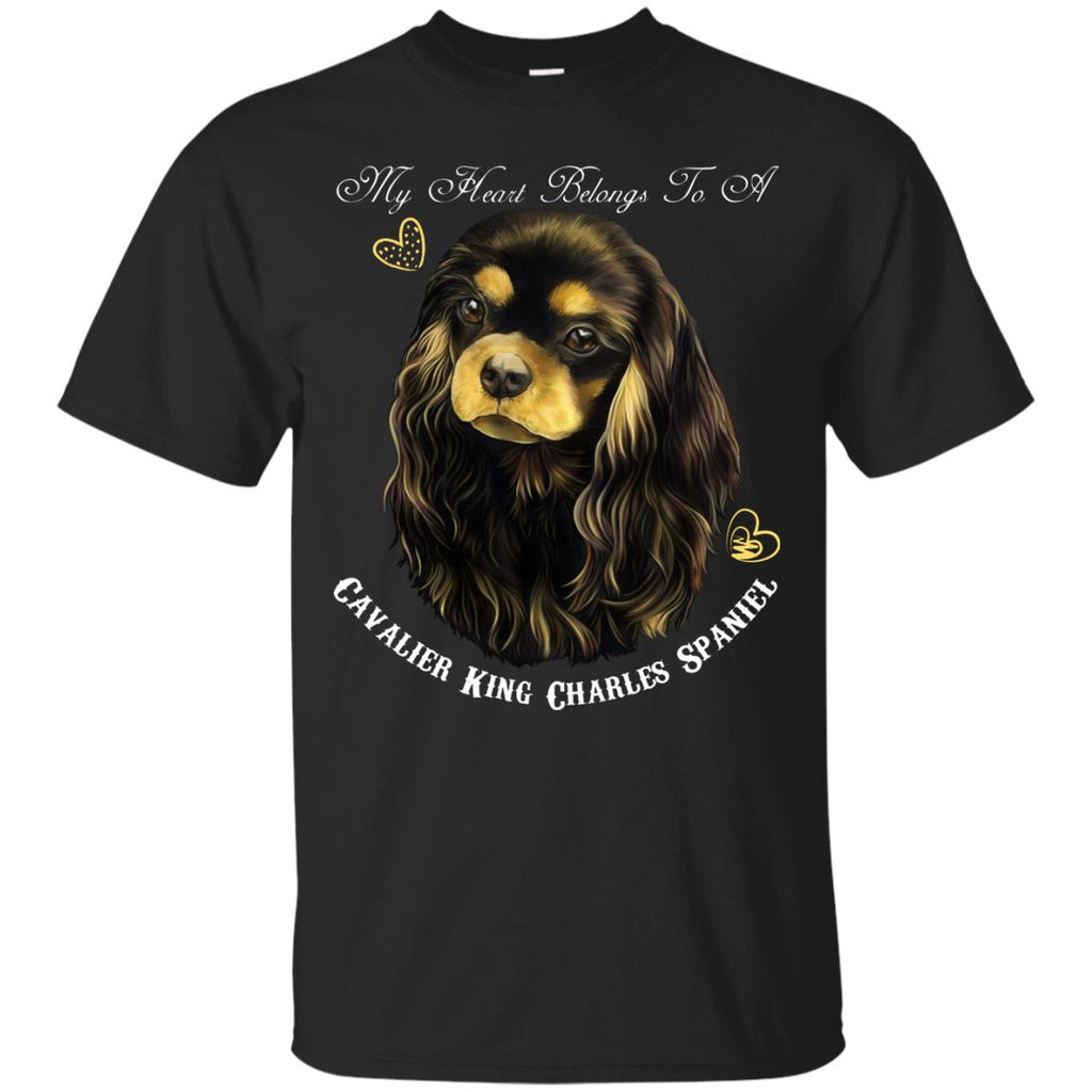 Cavalier King Charles Spaniel Black Tan My Heart Cotton T-Shirt - GoneBold.gift