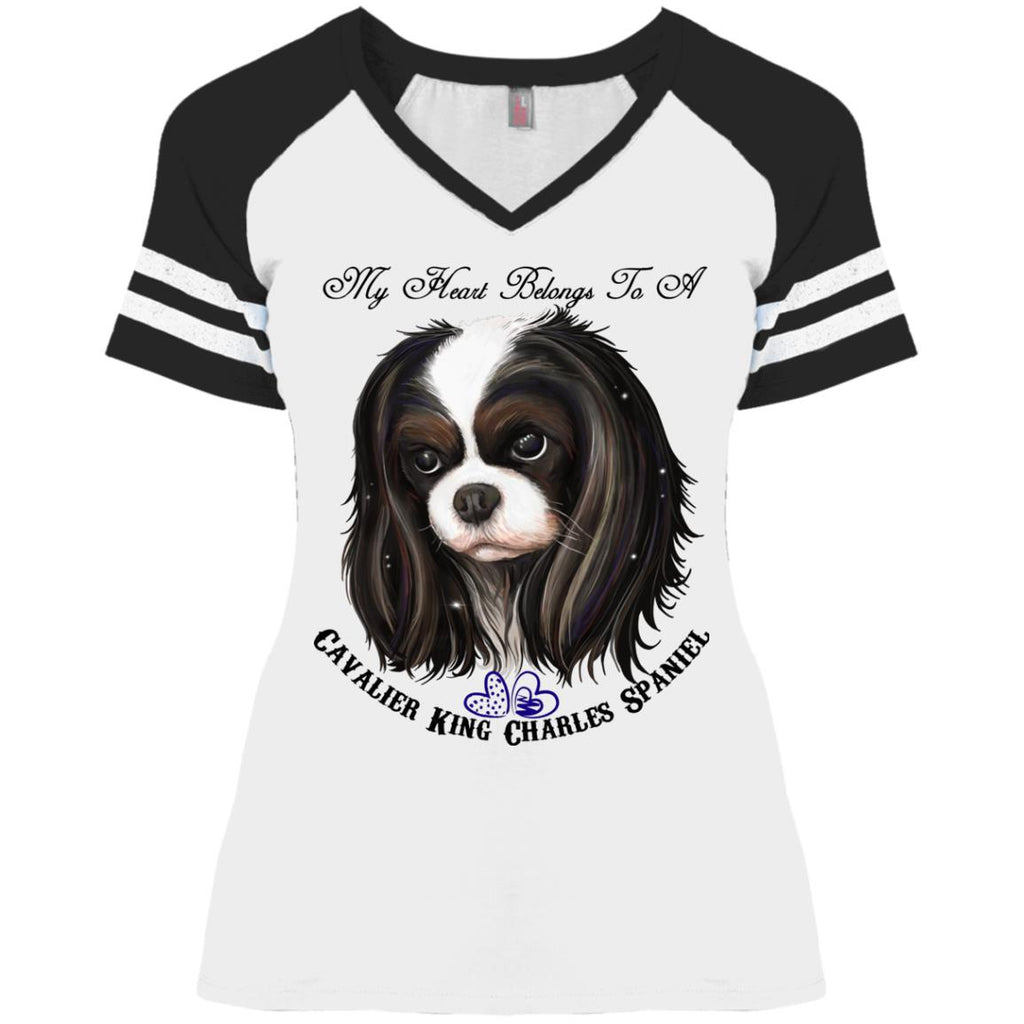 Cavalier King Charles spaniel Tricolor My Heart Ladies' Game V-Neck T-Shirt - GoneBold.gift