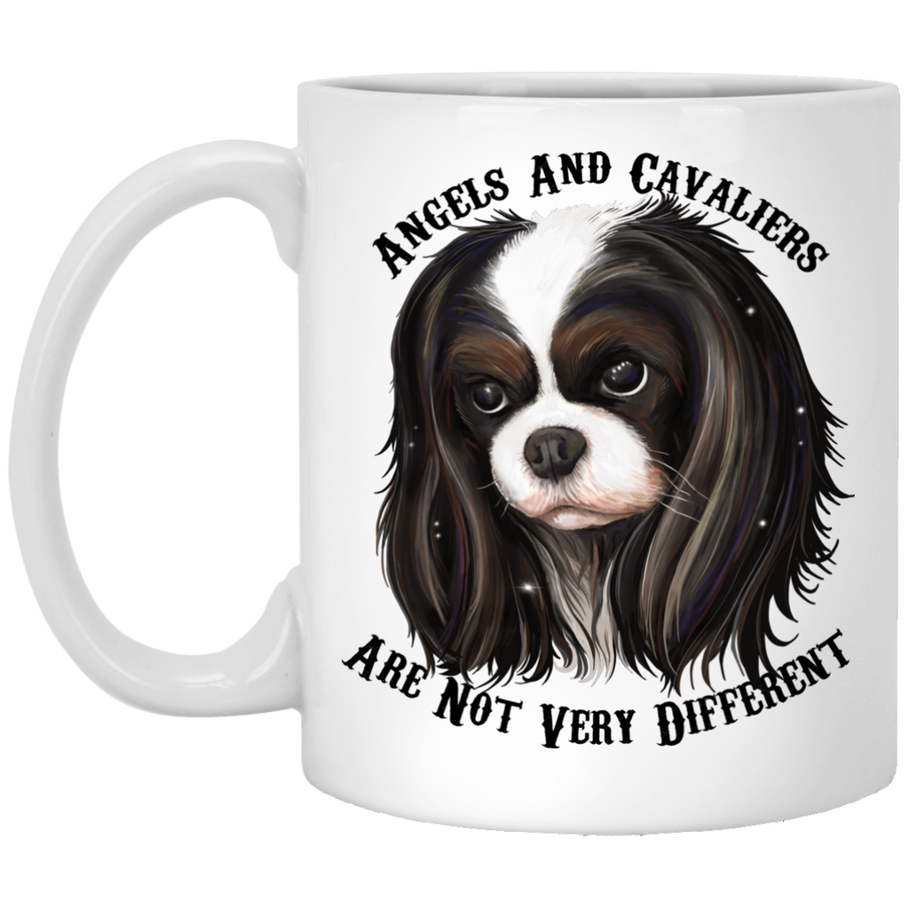 Cavalier King Charles Spaniel Gifts - Cavaliers And Angels Tricolor King Charles White Mugs - GoneBold.gift