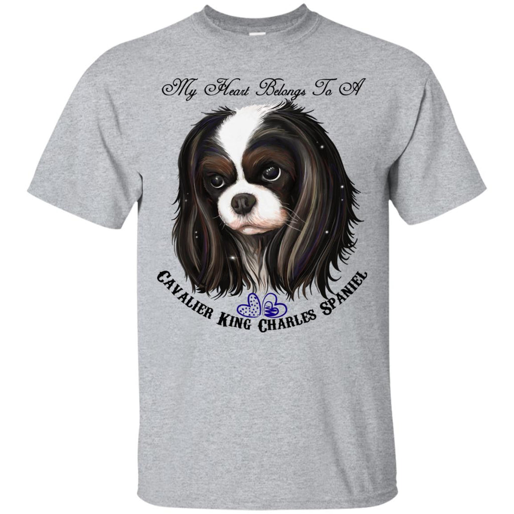 Cavalier King Charles spaniel Tricolor My Heart Cotton T-Shirt - GoneBold.gift