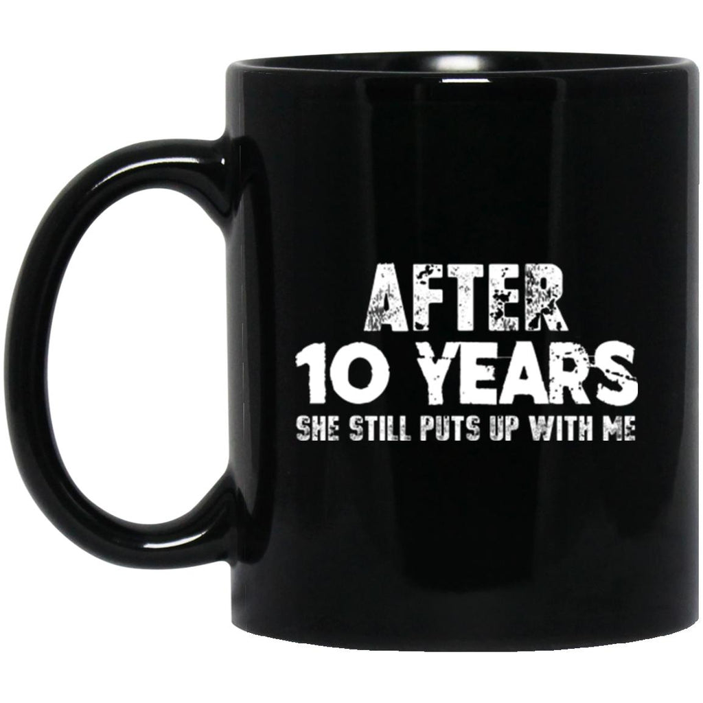 Anniversary Mug For Husband 10 years Black Coffee Mugs - GoneBold.gift