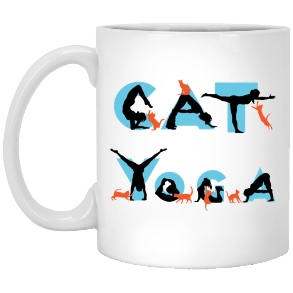 Cat Yoga Mug White Mugs - GoneBold.gift