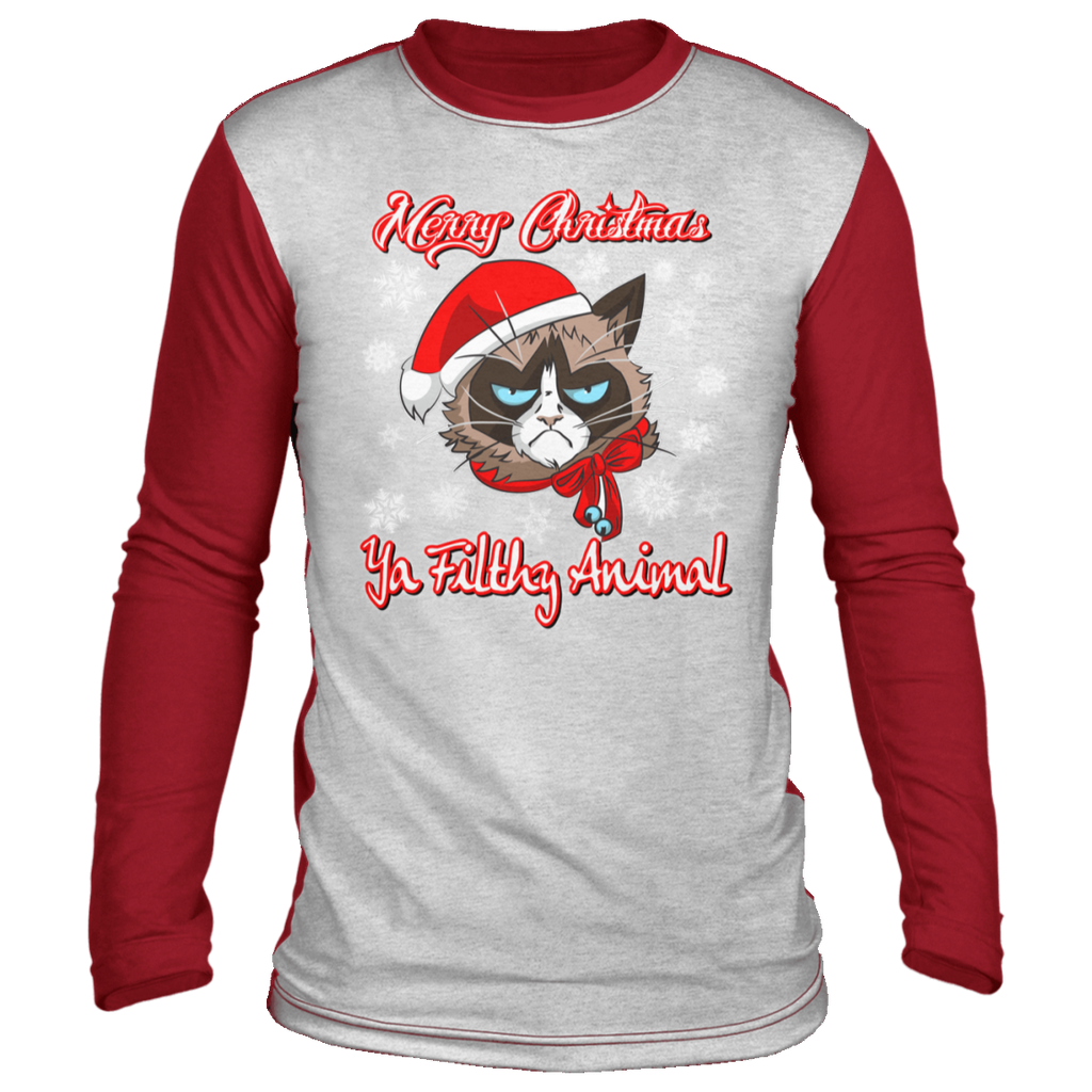 Cat Christmas shirt, Merry Christmas Ya Filthy Animal, funny  Ugly Christmas 'sweater' Long Sleeve - GoneBold.gift