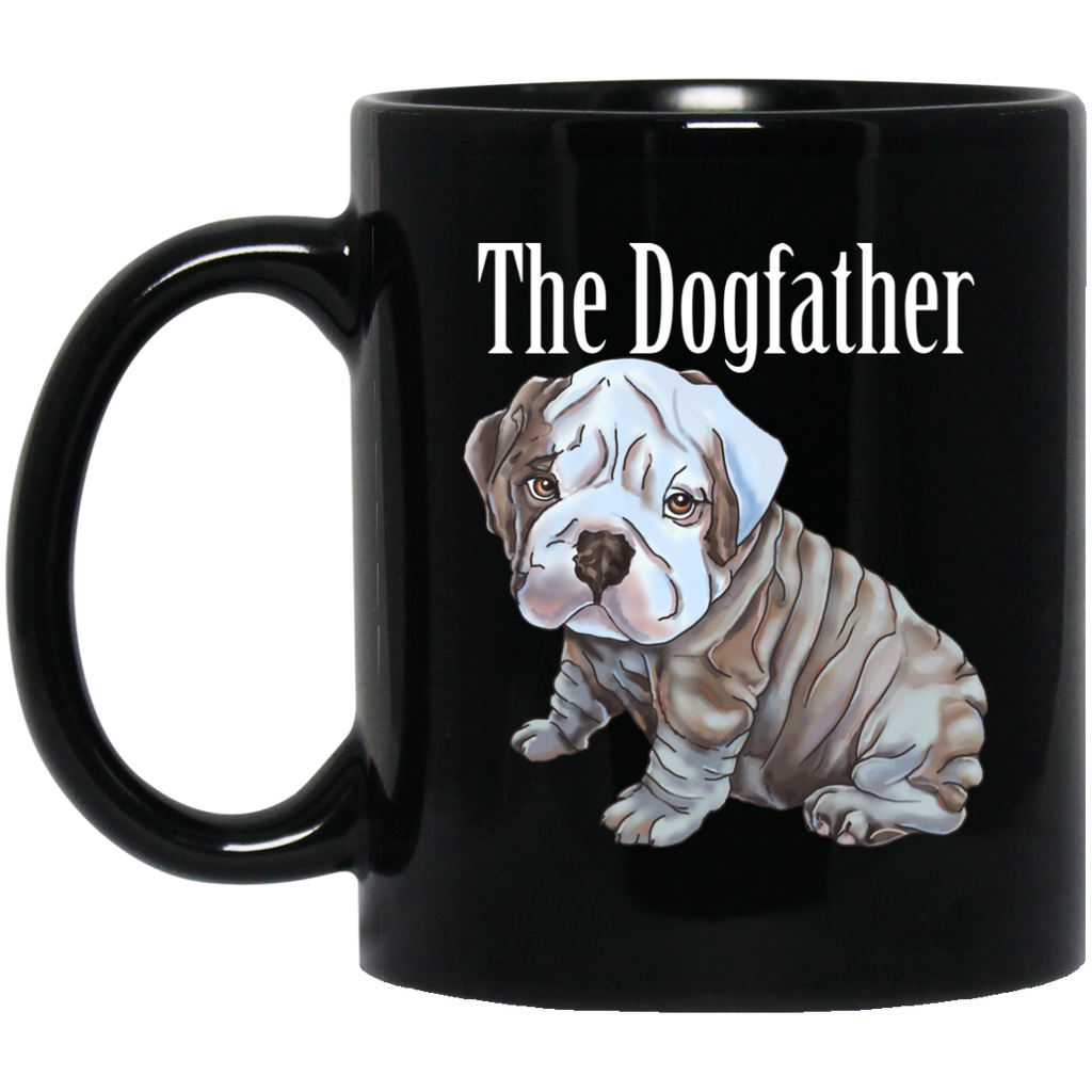 English Bulldog Mug - Dogfather Black Coffee Mugs - GoneBold.gift