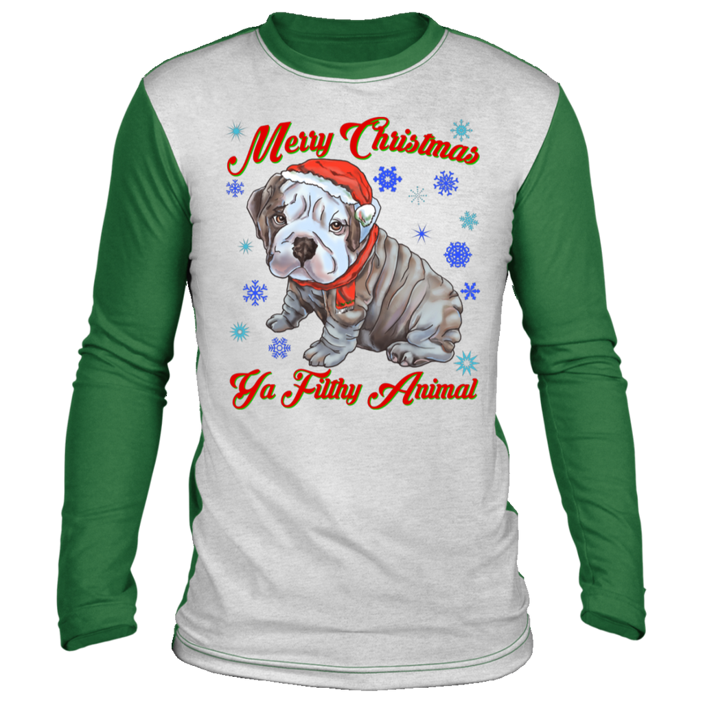 English bulldog, Merry Christmas Ya Filthy Animals, Ugly Christmas 'sweater' Long Sleeve - GoneBold.gift