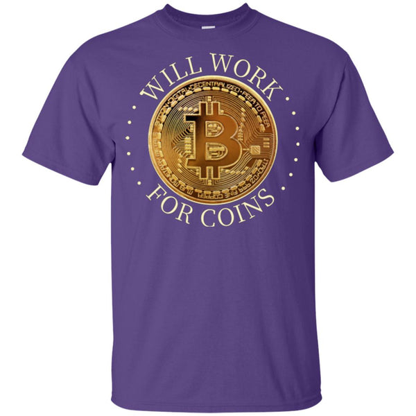 Will Work For Coins Gildan Youth Ultra Cotton Bitcoin T-Shirt