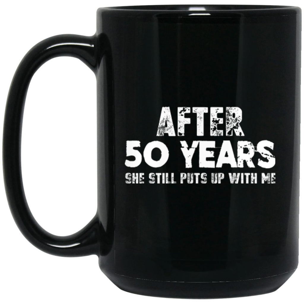 Anniversary Mug for Husband 50 years Black Coffee Mugs - GoneBold.gift