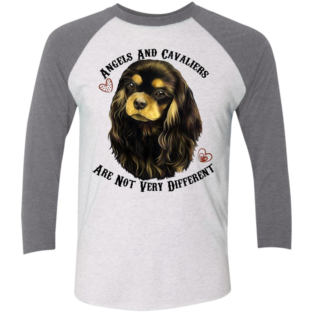 Cavalier King Charles Spaniel Black and Tan Angels Baseball Raglan T-Shirt - GoneBold.gift