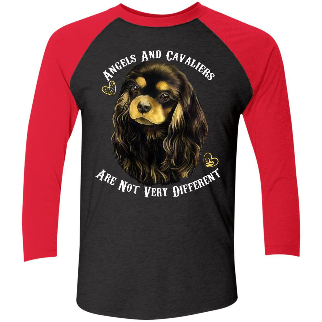 Cavalier King Charles Spaniel Black And Tan Angels and Cavaliers Baseball Raglan T-Shirt - GoneBold.gift