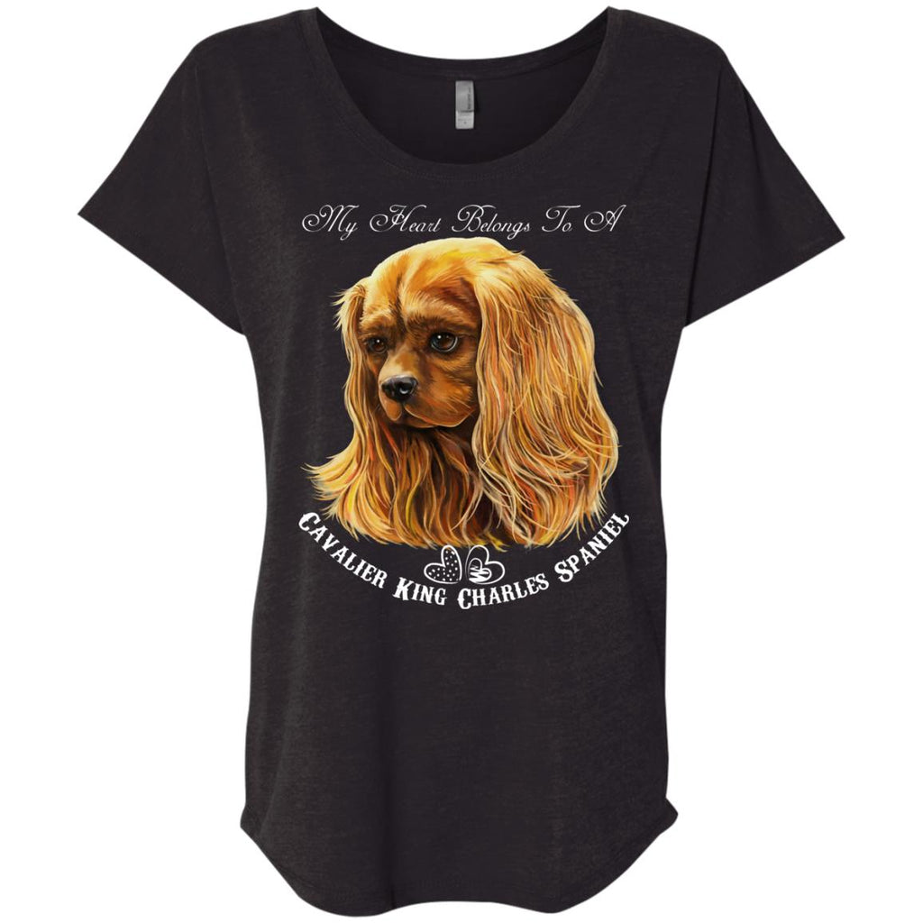 Cavalier King Charles Spaniel Ruby My Heart Dolman Sleeve T-shirt - GoneBold.gift