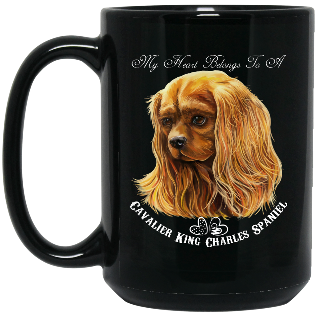 Cavalier King Charles Spaniel Gifts - My Heart Ruby Cavalier Black Coffee Mugs - GoneBold.gift