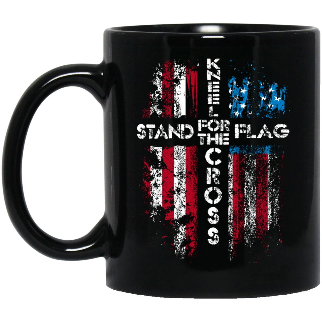 Stand For The Flag Kneel for The Cross Mug Black Coffee Mugs - GoneBold.gift