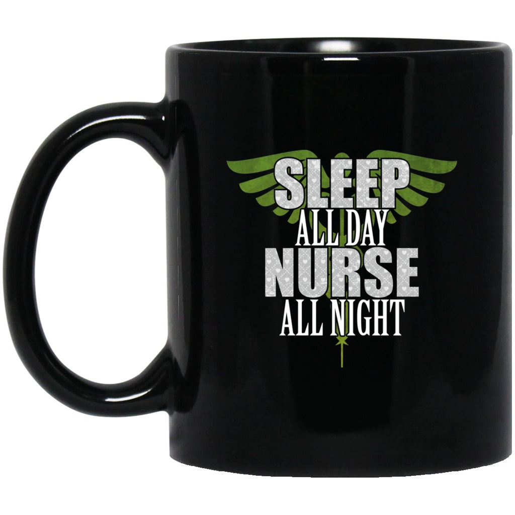 Nurse All Night Black Coffee Mugs - GoneBold.gift