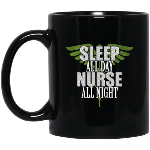 Nurse All Night Black Coffee Mugs