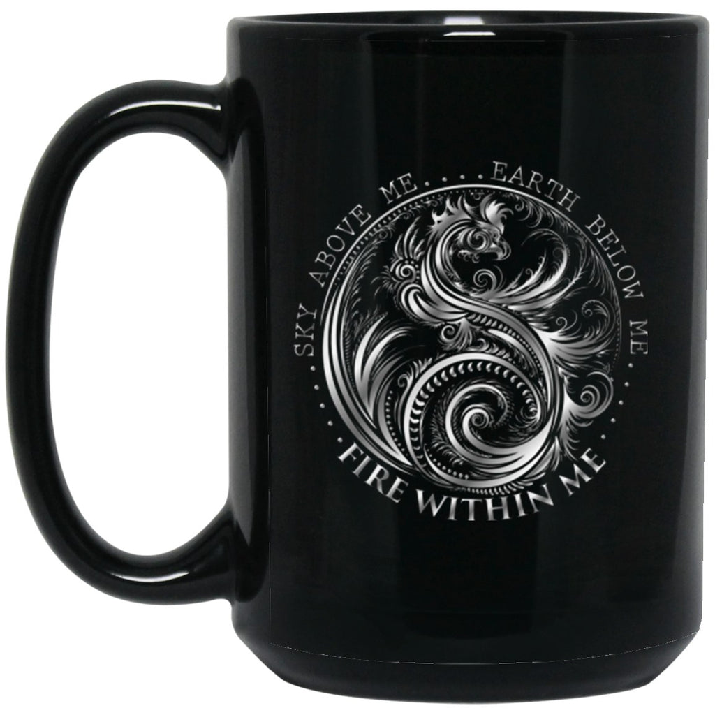 Dragon Mug Silver yin Yang Black Coffee Mugs - GoneBold.gift