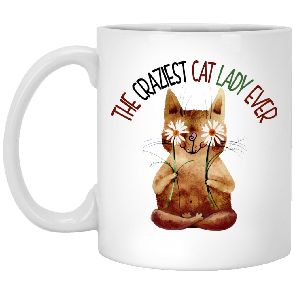 Cat Mug Crazy Cat lady White Mugs - GoneBold.gift
