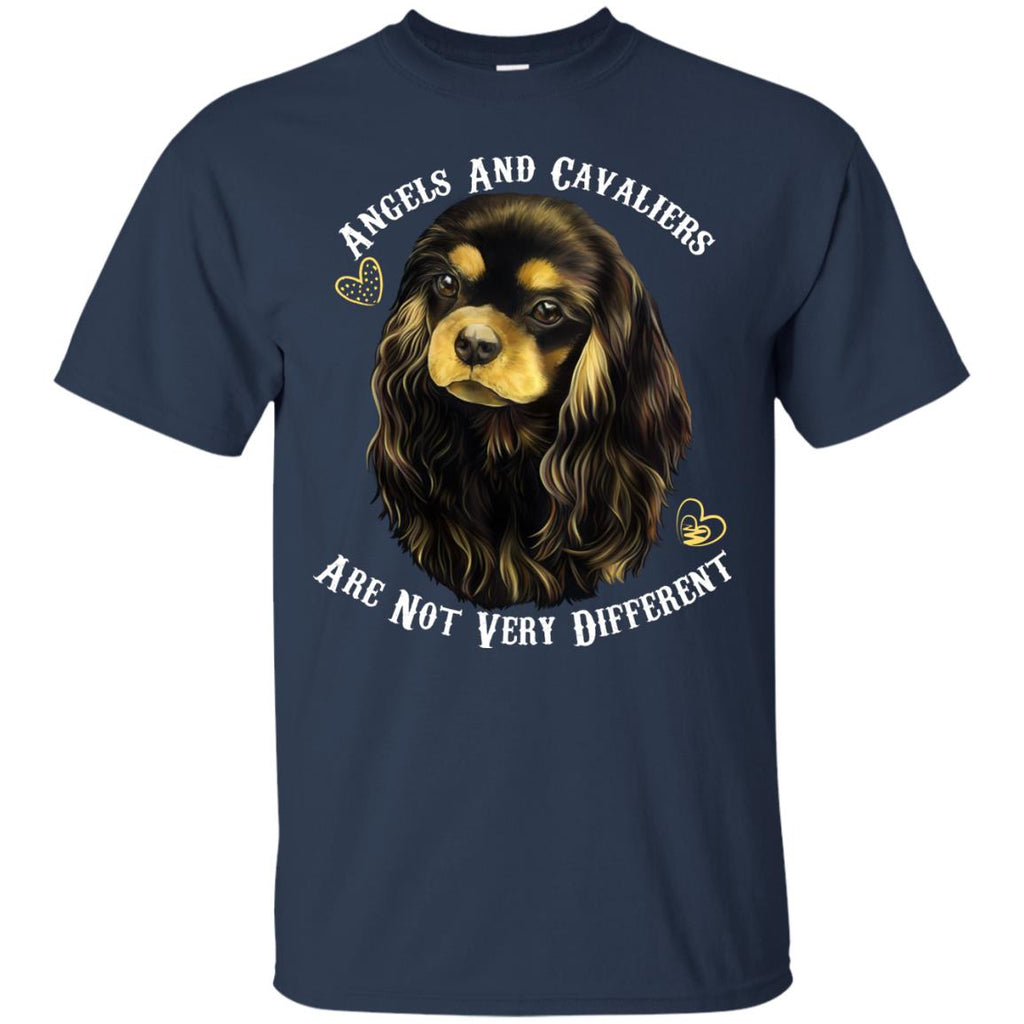 Cavalier King Charles Spaniel Black And Tan Angels and Cavaliers Cotton T-Shirt - GoneBold.gift
