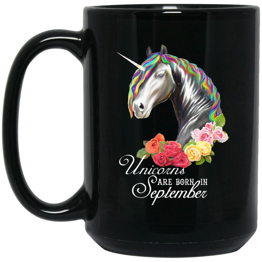 Unicorns Are Born In September Black Coffee Mugs - GoneBold.gift