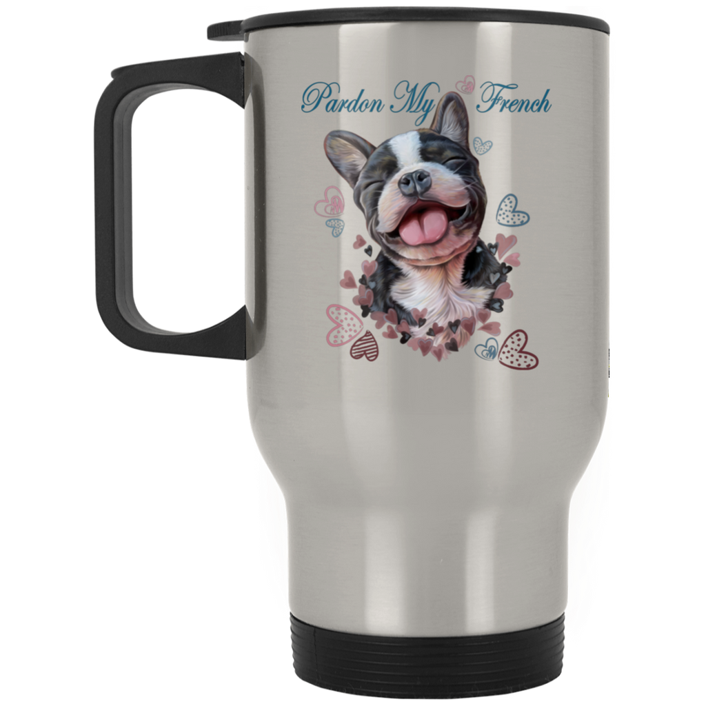 French Bulldog Travel Mug, Pardon My French - GoneBold.gift