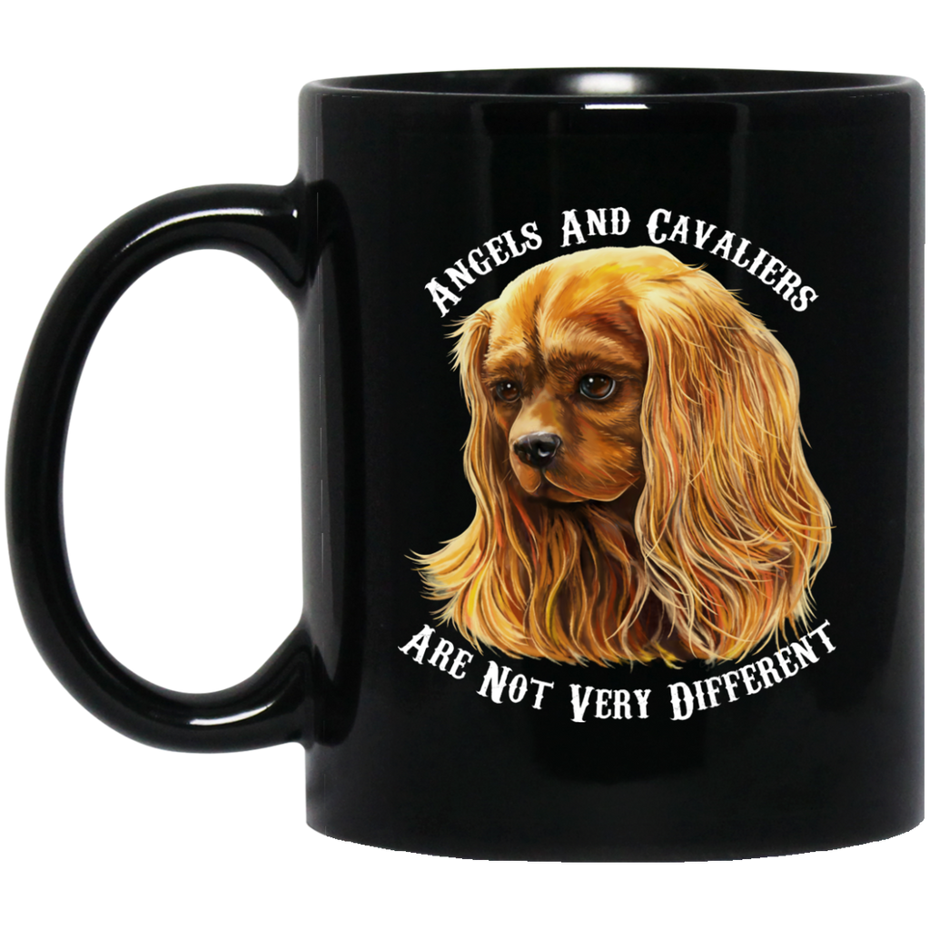 Cavalier King Charles Spaniel Gifts - Cavaliers And Angels Ruby Cavalier Black Coffee Mug - GoneBold.gift