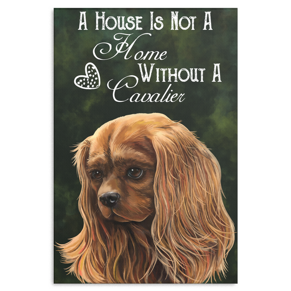 Cavalier King Charles Spaniel Ruby Canvas Print - A House Is Not A Home Without A Cavalier
