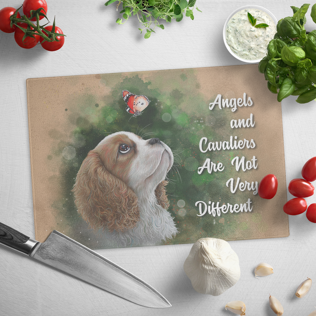 Cutting Board, Cavalier King Charles Spaniel Gift, Angels And Cavaliers Are Not Very Different - GoneBold.gift