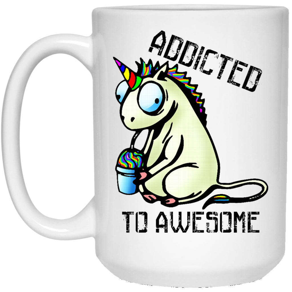 Addicted To Awesome Unicorn Coffee Mug - GoneBold.gift