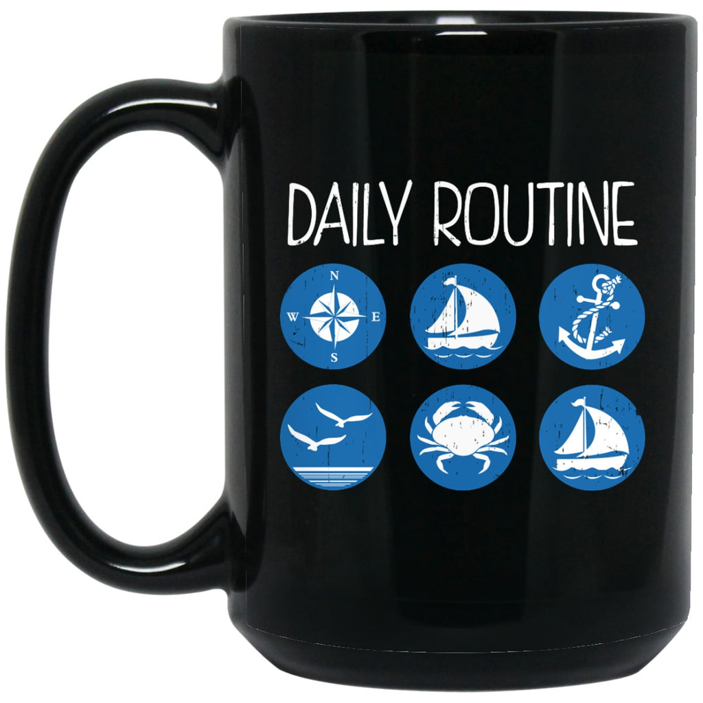 Daily Routine Coffee Mug - Pirate Coffee Cap - GoneBold.gift