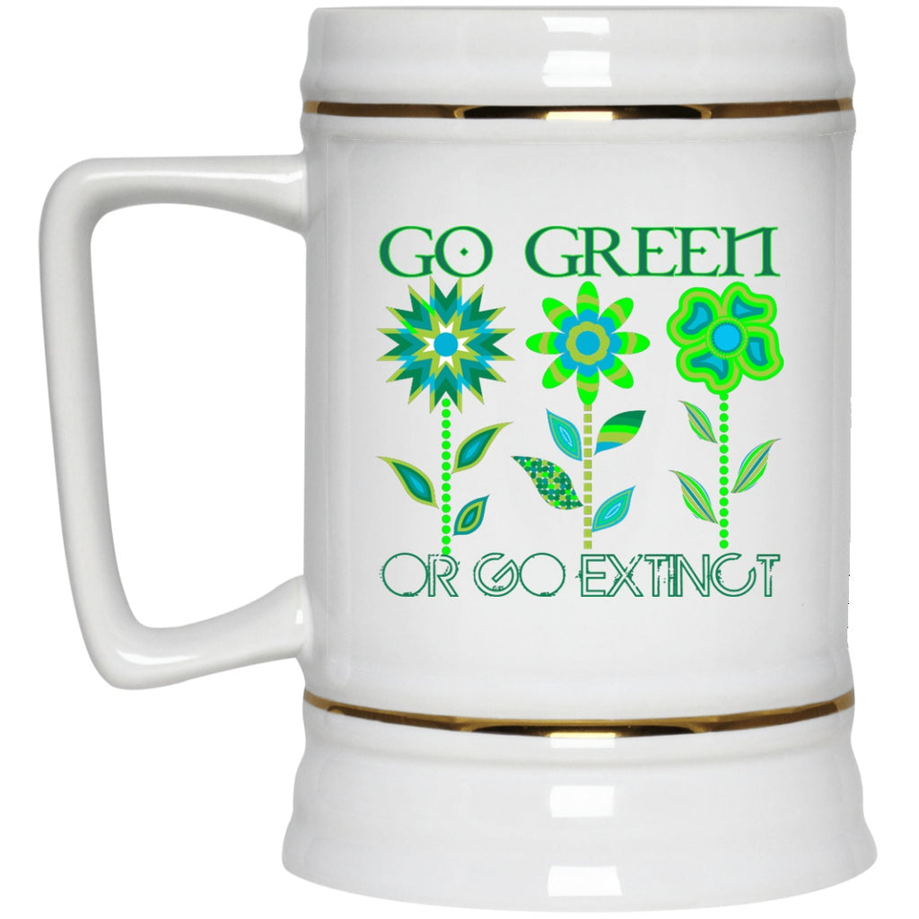Go Green Or Go Extinct White Coffee Mugs and Beer Steins - GoneBold.gift