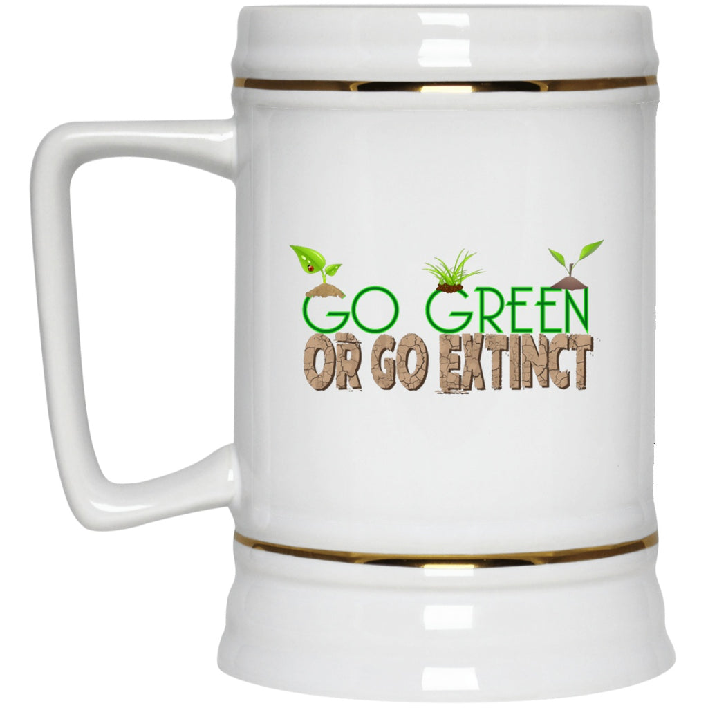Go Green White Coffee Mugs & Beer Steins - GoneBold.gift