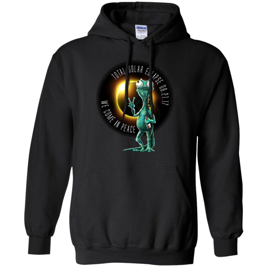 Solar Eclipse Hoodies Unisex - We Come In Peace Lizard Men - GoneBold.gift