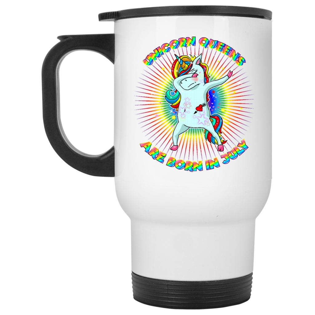 unicorn Queens Are Born In July Coffee Mug for Girl Woman - GoneBold.gift