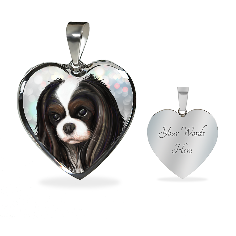 Cavalier King Charles Spaniel Jewelry - Tricolor Cavalier Luxury Stainless Steal Necklace and Bangle - GoneBold.gift