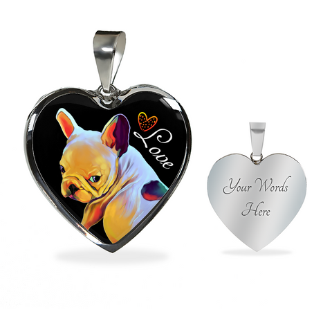 French Bulldog Heart Luxury Necklace & Adjustable Pendant