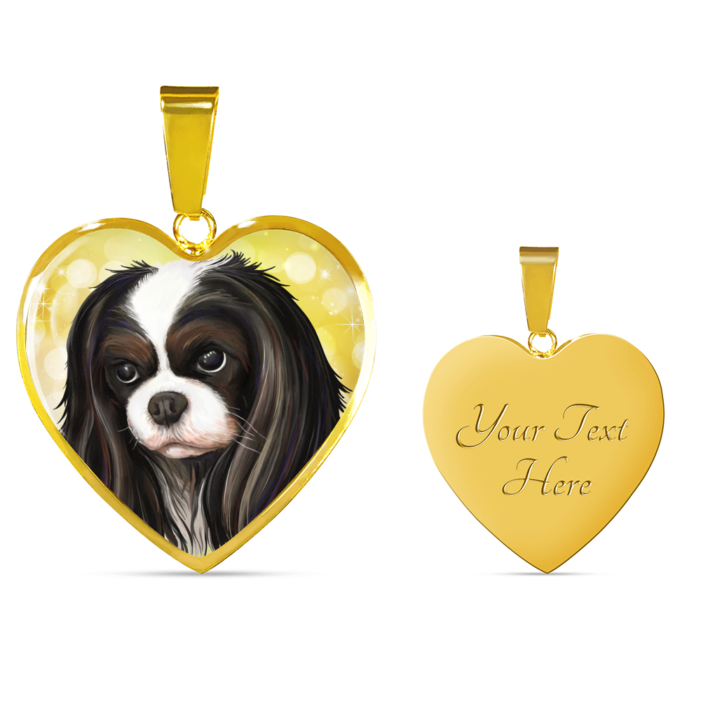 Cavalier King Charles Spaniel Jewelry - Tricolor King Charles Luxury Necklace and Bangle - GoneBold.gift