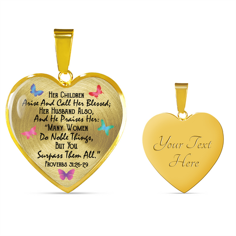 Personalized bible verse Necklace - Her Children Arise and Call Her Blessed 18k Gold Necklace & Bangle