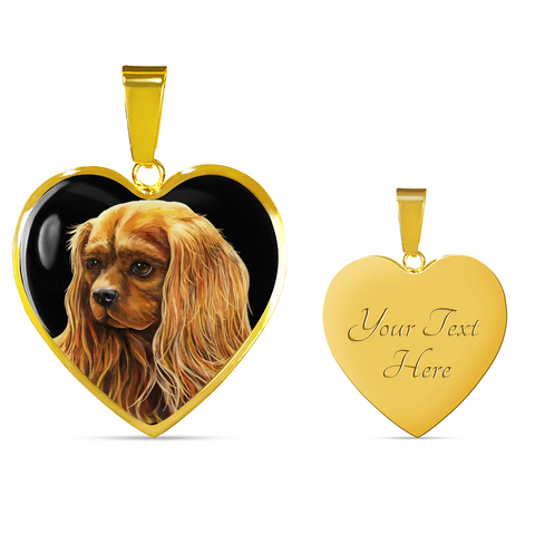 Ruby Cavalier King Charles Spaniel Heart Necklace & Bangle - GoneBold.gift