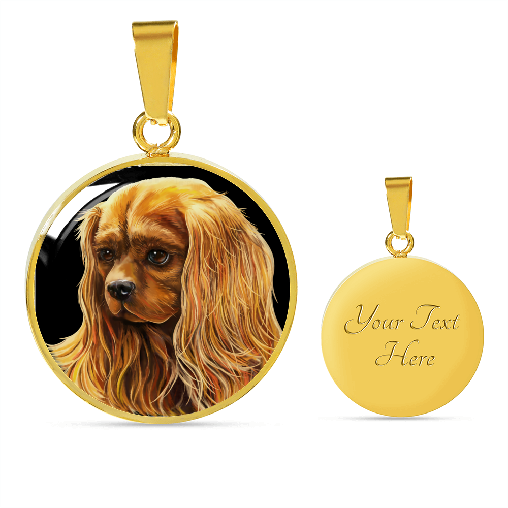 Ruby Cavalier King Charles Spaniel Oval Pendant Necklace & Bangle - GoneBold.gift