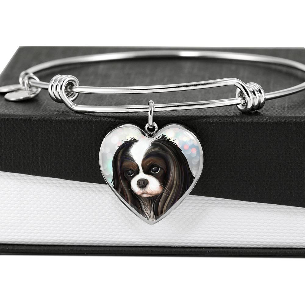 Luxury Bangle, Cavalier King Charles Tricolor Bracelet, Gold or Stainless Steal, Engrave Your Text on Pendant - GoneBold.gift