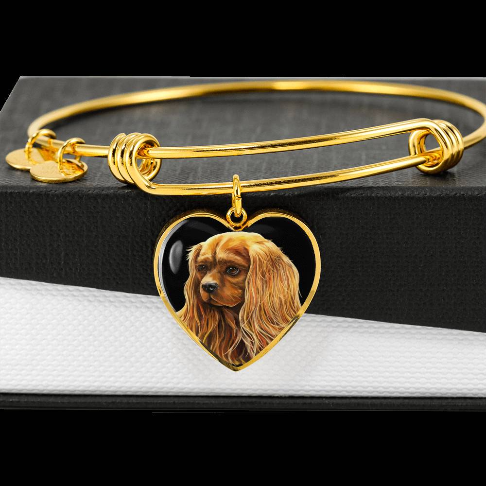 Luxury Bangle, Ruby Cavalier King Charles Spaniel bracelet, Gold or Stainless Still Cavalier dog Jewelry, Add Your Text - GoneBold.gift