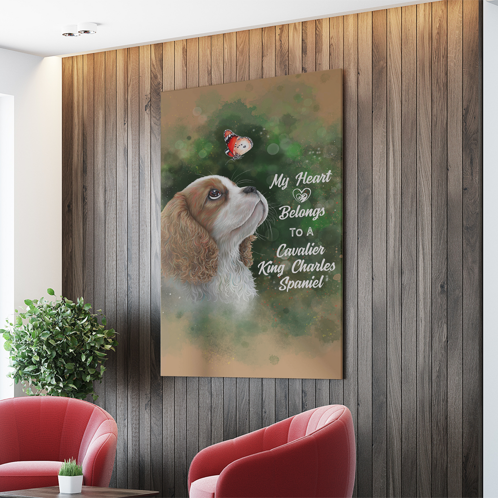 Cavalier King Charles Spaniel, My Heart Belongs To A Cavalier  Portrait Canvas .75in Frame - GoneBold.gift