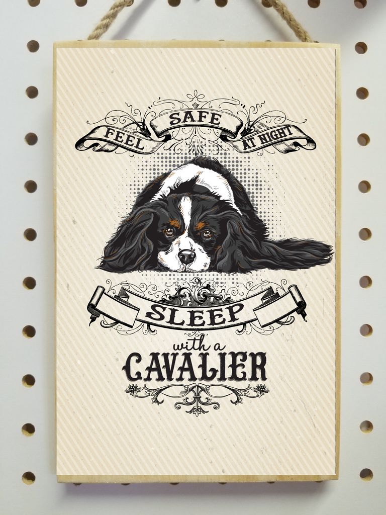 "Tricolor Cavalier King Charles Spaniel, Feel Safe At Night Sleep with a Cavalier - Wooden Sign, Plaque 5.5""x8.5"" - GoneBold.gift"