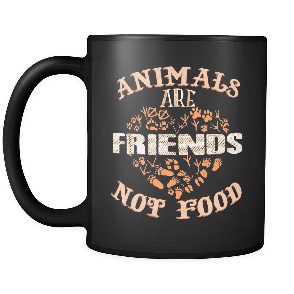 Animals Are Friends Not Food - All Black 11 oz Mug - GoneBold.gift