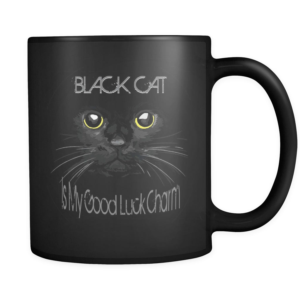Black Cat - Is My Good Luck Charm - All BLACK 11oz Mug - GoneBold.gift